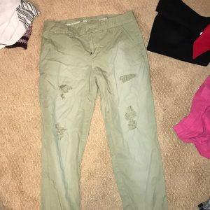 ripped khaki jeans